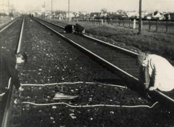 Danish freedom- fighters: Railroad- sabotage 11. april 1945