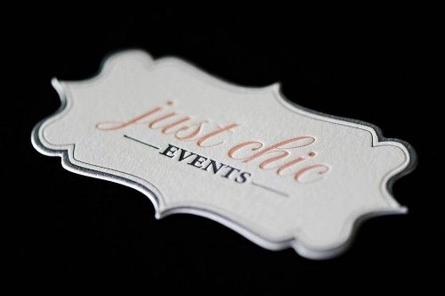 Using a die cut business card is a great way to establish a memorable and creative appeal about you and your business!  This one is very creative, yet simple and elegant!