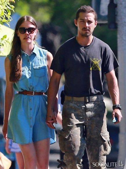 'Fury' actor Shia LaBeouf and his girlfriend Mia Goth spend a busy day together in Los Angeles, California on July 23, 2013. The couple stopped for some supplies at Home Depot before getting some ice cream.