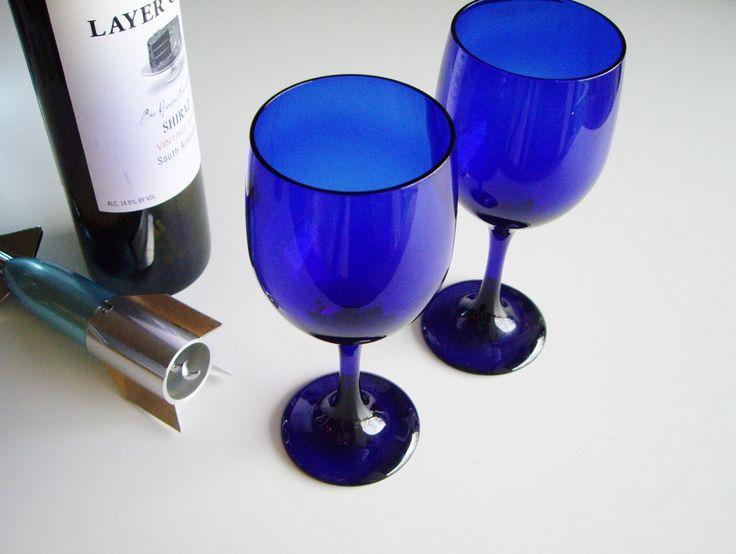 Vintage, Cobalt Blue Wine Glasses, Libbey, Deep Blue, Cobalt Glass, Vintage Barware, Set of 2, Minimal by Vintagerous on Etsy