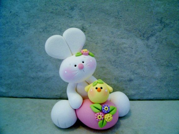 Bunny  Easter Egg  Chick  Figurine by countrycupboardclay on Etsy