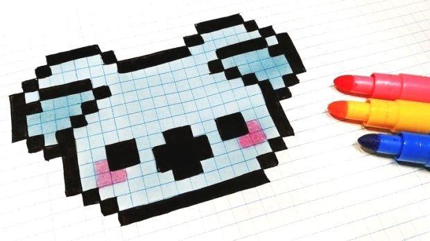 Art Como Dibujar Hecho Kawaii Koala Mano Pixel Hecho
