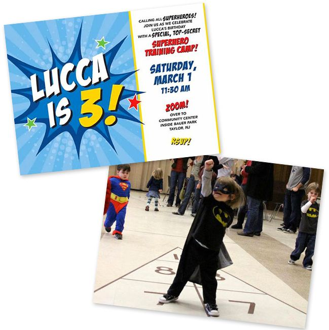 Superhero party - GREAT activity ideas like leaping over tall buildings (cardboard boxes) in a single bounce, etc.
