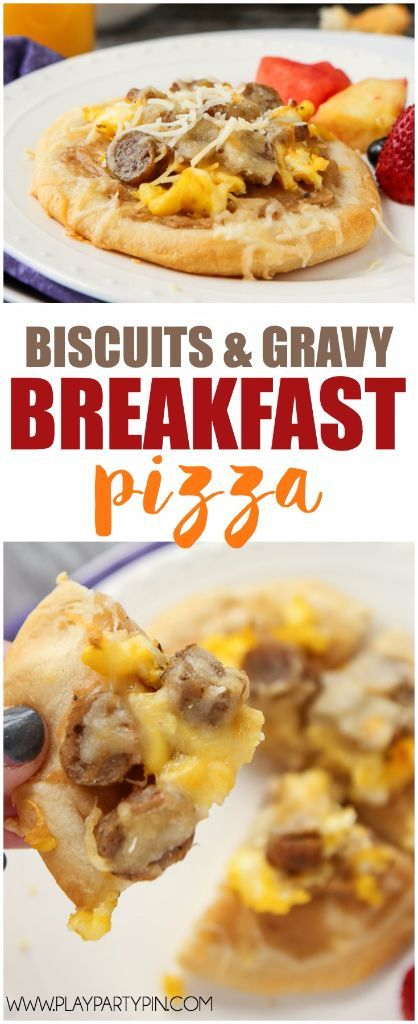 These biscuit and gravy breakfast pizzas are a super easy recipe and a perfect way to combine your favorite breakfast flavors into one recipe! They'd also make one yummy and easy dinner recipe. I'm definitely trying these with some maple syrup drizzled on top! [sponsored]