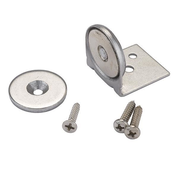 """For RT cabinets/drawers. Buy Stainless Steel Magnetic Latch with Bracket 1"""" Dia 40 lbs Holding Strength at Woodcraft.com"""