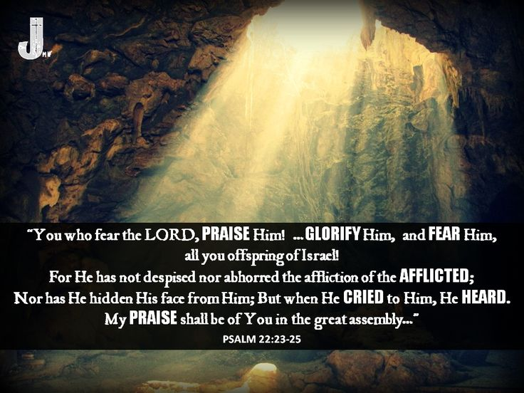 """You who fear the LORD, praise Him! …Glorify Him, and fear Him,  all you offspring of Israel! For He has not despised nor abhorred  the affliction of the afflicted; Nor has He hidden His face from Him;  But when He cried to Him, He heard.  My praise shall be of You in the great assembly…""   Psalm 22:23-25 #Psalm22 #Bible #Scripture #CalltoWorship #Psalm22:23-25"