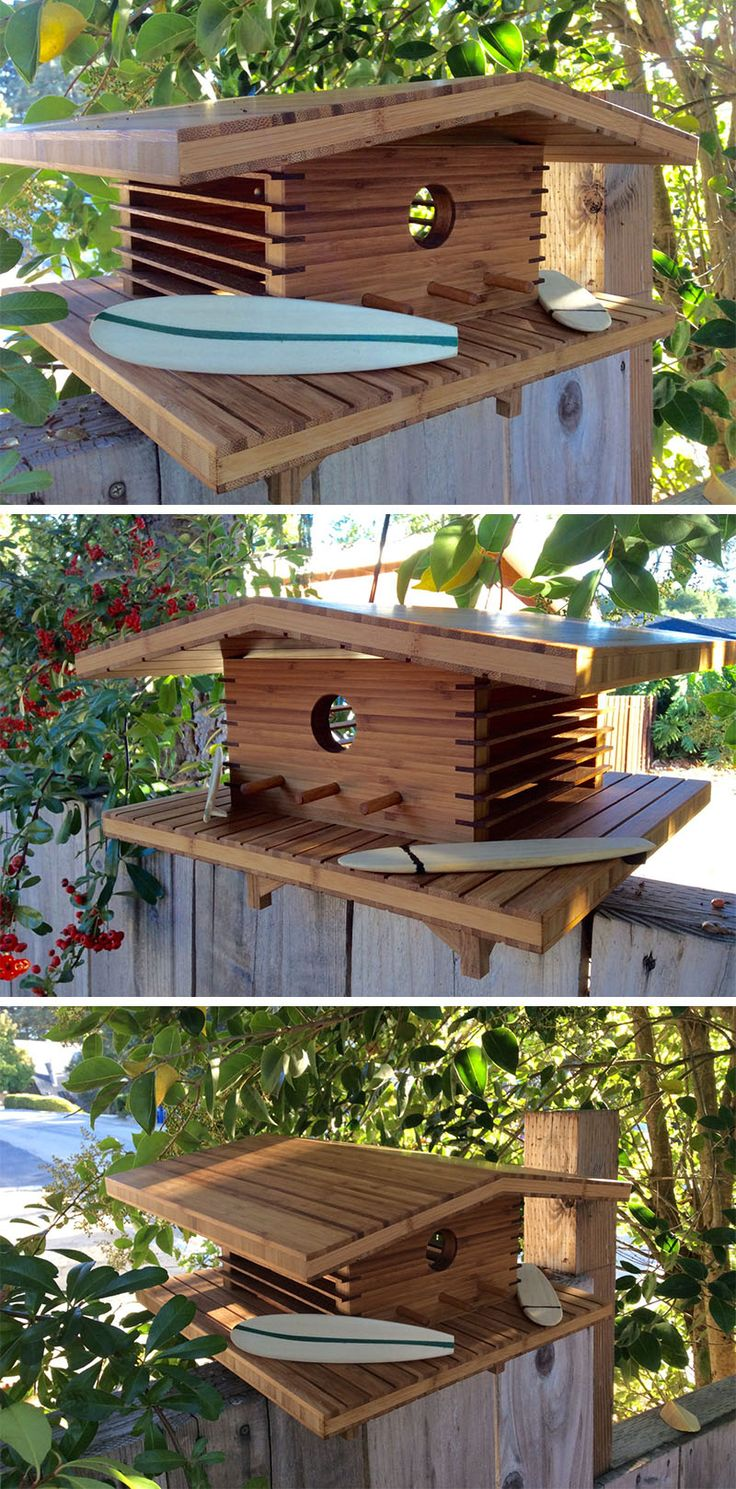 Designed by Douglas Barnhard, this bamboo and teak birdhouse was inspired by Hawaiian architecture.