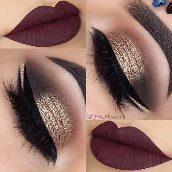Eyes: ABH Master Palette by Mario, and ABH eyeshadow in Noir, NYX glitter in Gold Dust.  Lips: Lip Fanatic matte liquid lipstick in Special.