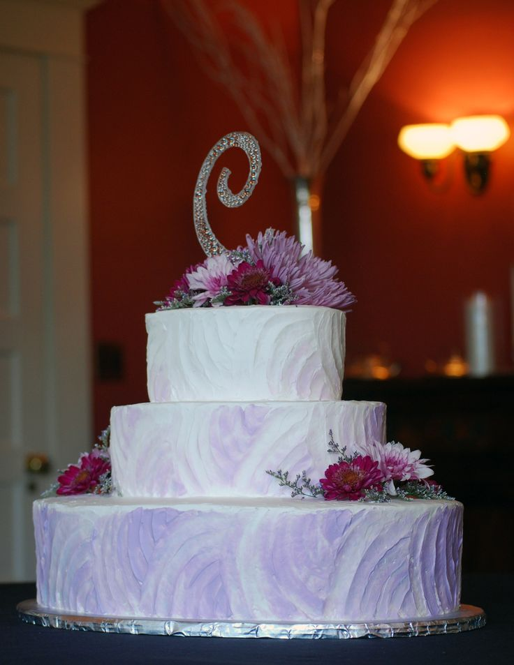Rustic Oval Lavender Wedding Cake - Top Tier Wedding Cakes