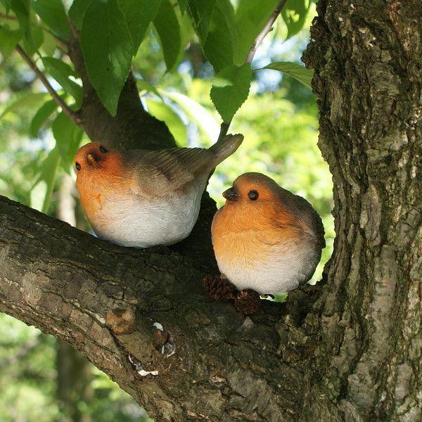 オレンジの小鳥 2匹セット (置物 オーナメント 庭 かわいい 鳥 野鳥 動物 オブジェ ガーデニング 飾り)|niwazakka