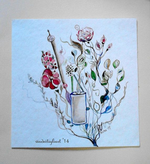 Secret garden original watercolor cm 23 x 23 by viadeitigli, €18.50