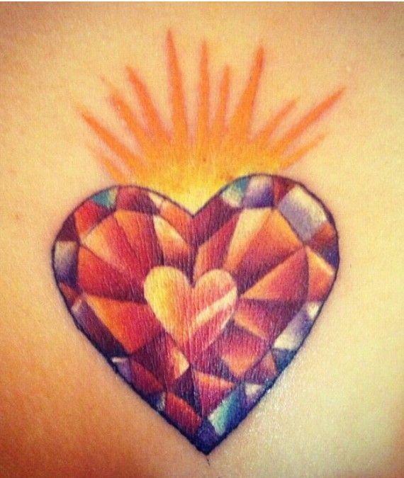 23 best heart shaped diamond tattoo images on pinterest