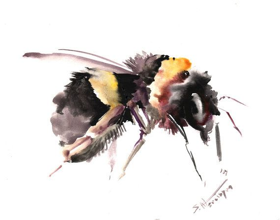 Bumblebee Original watercolor painting 8 X 10 in by ORIGINALONLY,