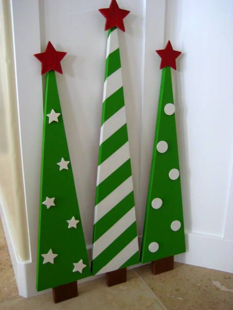This set of 3 darling christmas trees can be indoors or on your porch. Super bright happy colors make these trees a must have with polka dots,