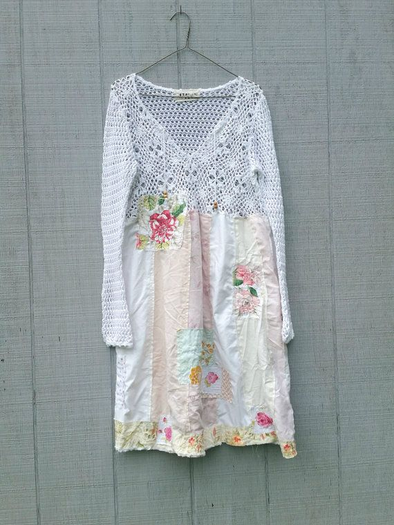 funky white cotton tunic upcycled romantic Upcycled clothing