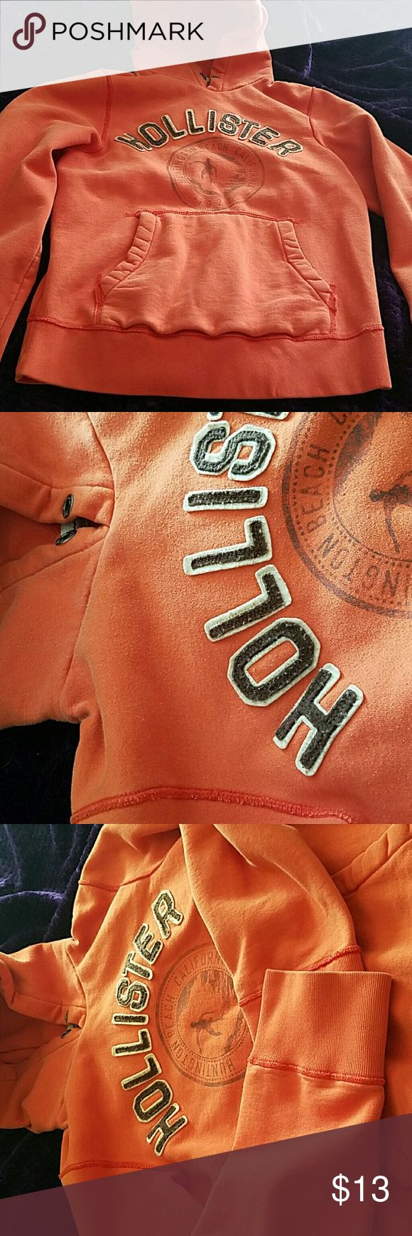 Preloved hoodie Orange hoodie, String is missing in the hood, very good pretty loved condition, heavy material, very warm and cozy... Hollister Other