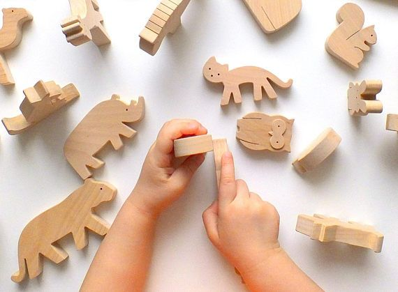forest animal play kit Brown bear with baby wooden toy eco-friendly toy