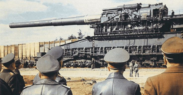 The Schwerer Gustav and its sister gun Dora were the two largest artillery pieces every constructed in terms of overall weight (1350 tonnes) and weight of projectiles (15,7...