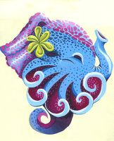 Octo-Phant by Cassandra Jones (AKA Lovelybitstopieces on DeviantArt) Shows off a bunch of art techniques like Addition, Subtraction, Multiplication, Gradients, Tertiary Color Scheme, and Contrast, in Acrylics on Bristol