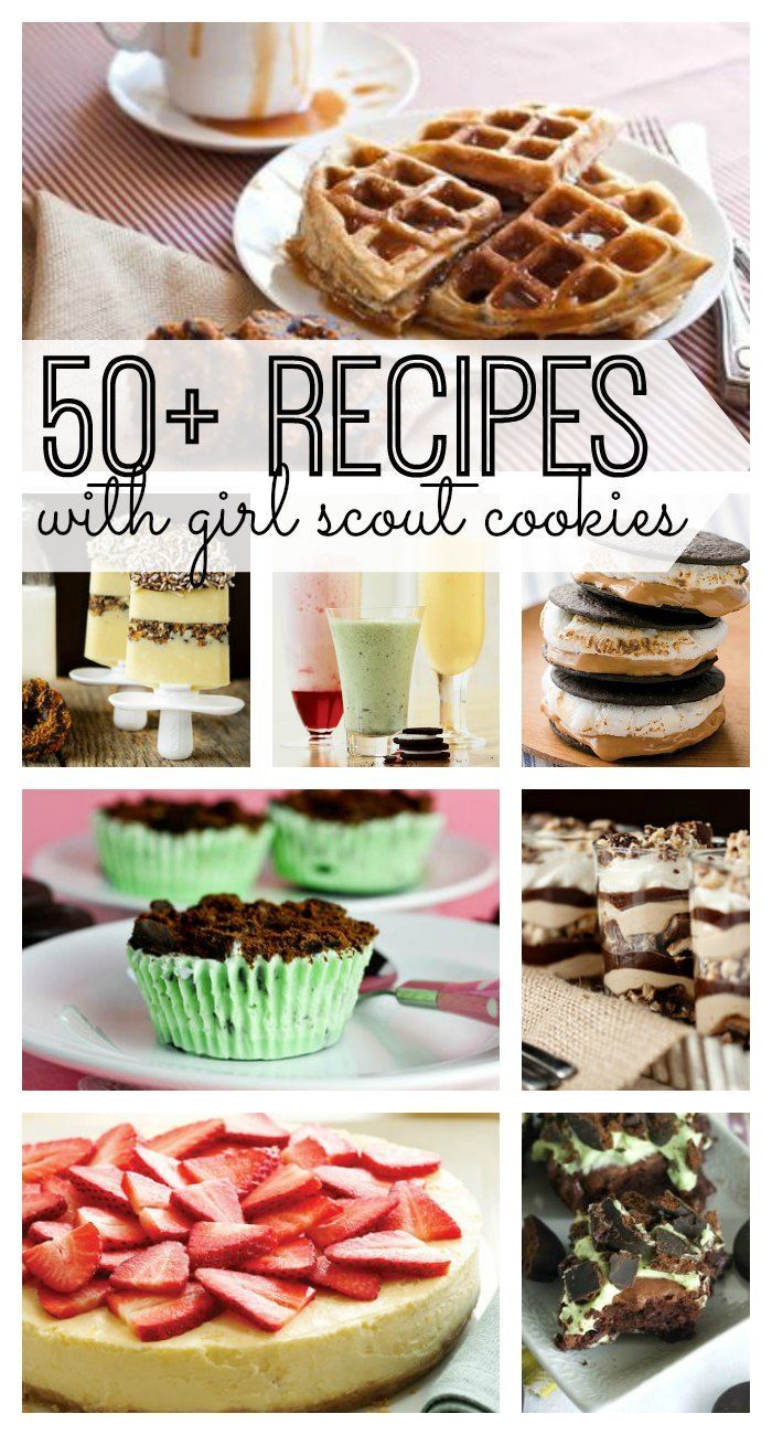 If you love Girl Scout cookies, you're really going to love these 50+ recipes with Girl Scout Cookies as a main ingredient. Great Girl Scout cookie recipes that your entire family will love - especially the Samoas Waffles! From smoothies to pies and even PIZZAS - you'll love these recipes that use Girl Scout Cookies!