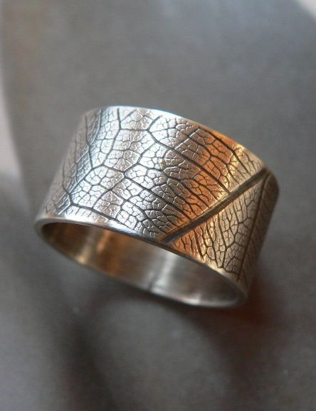 Leaf pattern ring, Sterling silver ring, wide band ring, metalwork jewelry