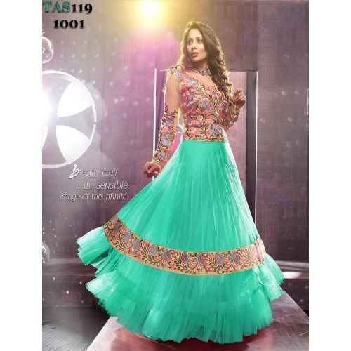 Thankar Sangeeta Ghosh Green Long Anarkali suit