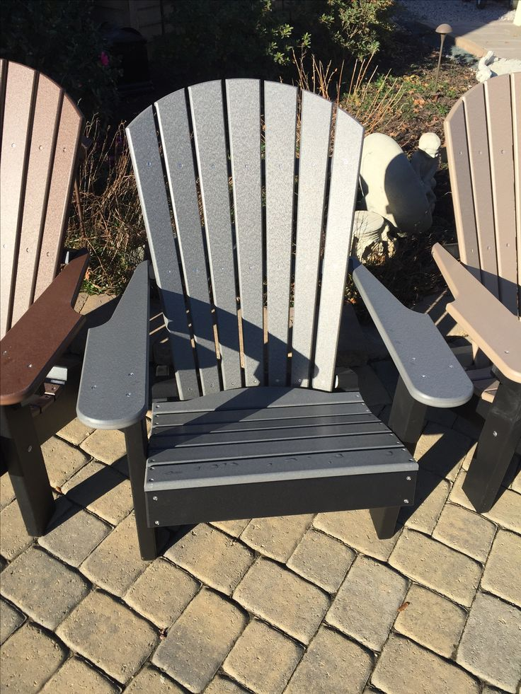 Grey / Black Poly Lumber Adirondack Chair. Many Different Colors And Styles  To Choose From