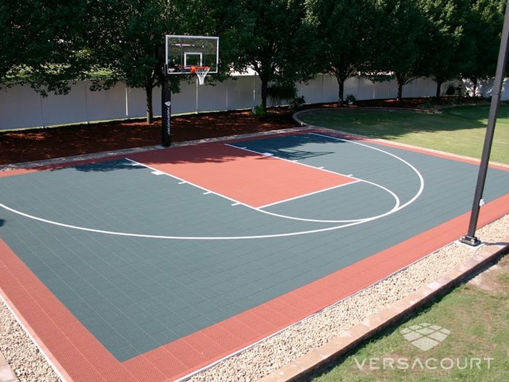 26 best backyard courts images on pinterest backyard for Home basketball court size