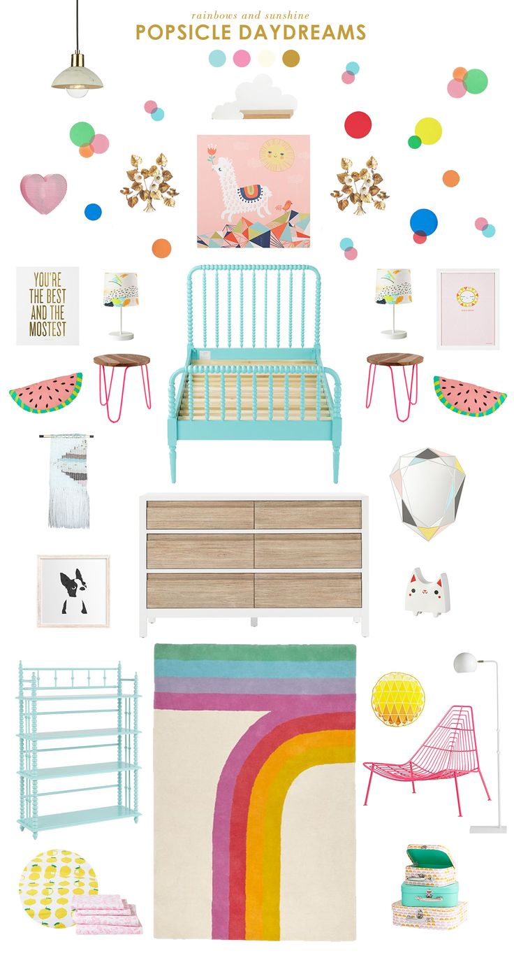 Popsicle Dreams - 80's Inspired Kids Room. So sweet, fresh and modern for a little girl's bedroom!