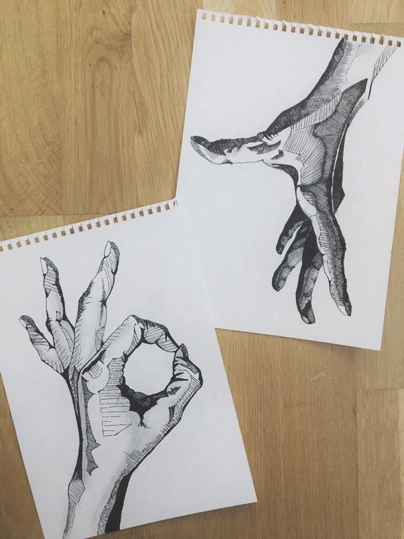 Hands, made with pen : drawing