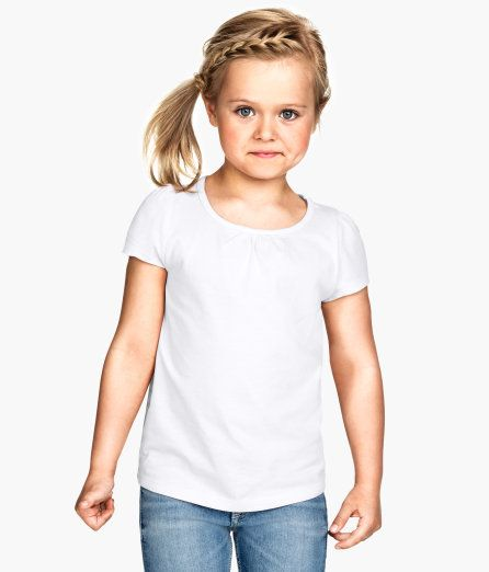 Check this out! CONSCIOUS. Top in soft, organic cotton jersey with short puff sleeves and decorative gathers at neckline. - Visit hm.com to see more.