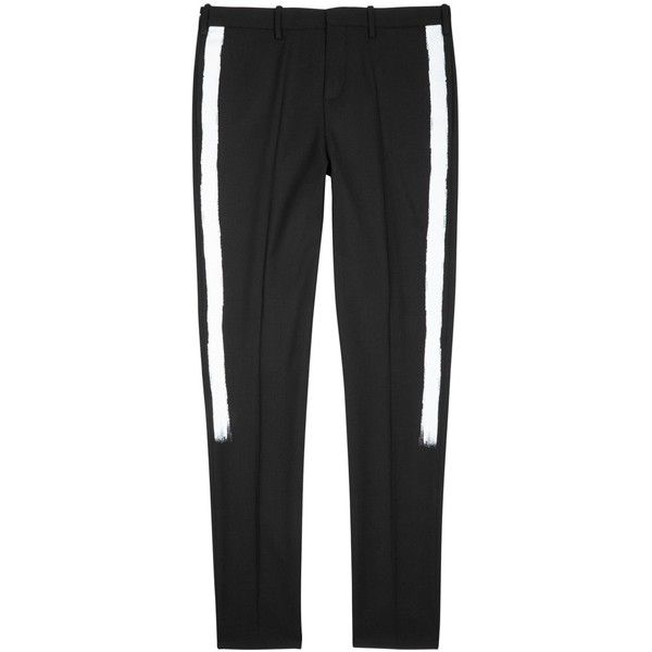 Neil Barrett Black Striped Twill Trousers - Size W28 ($715) ❤ liked on Polyvore featuring men's fashion, men's clothing, men's pants, men's casual pants, mens striped pants, mens twill pants, mens leopard print pants, men's pull on pants and mens tuxedo stripe pants