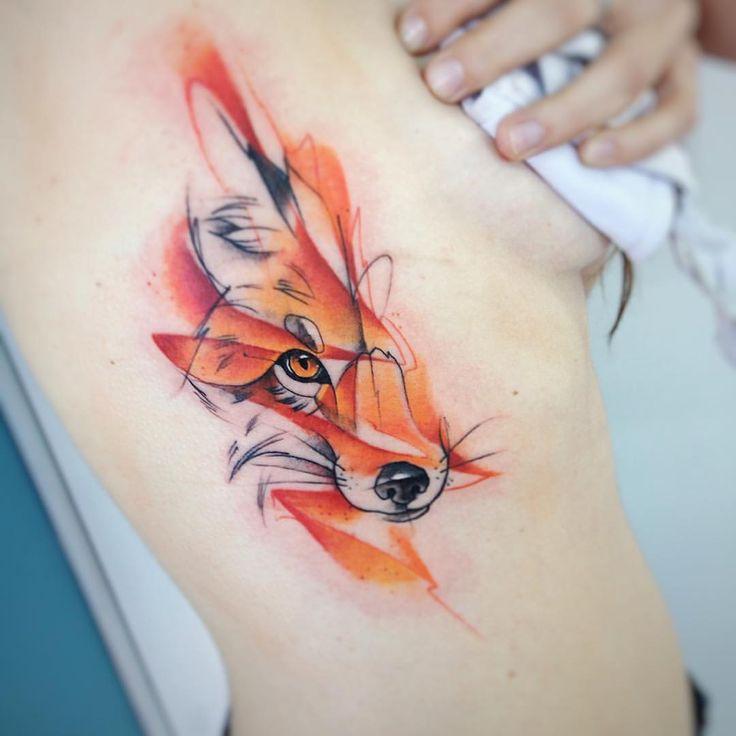 Nedielko Fox Tätowierungsaquarell