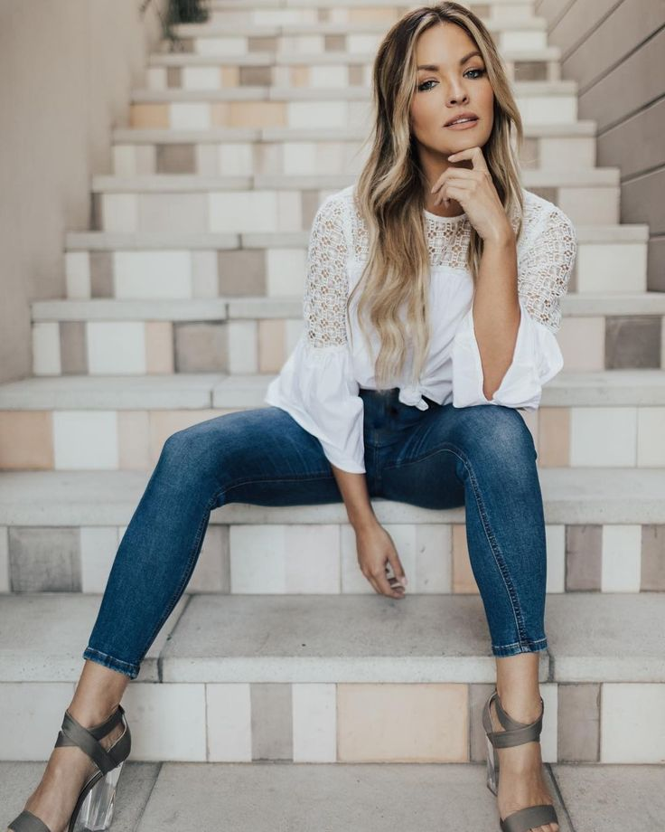 The summer heel that goes with everything | Becca Tilley styles the Lucite Ava Heel with denim and a white blouse #MARCIANO