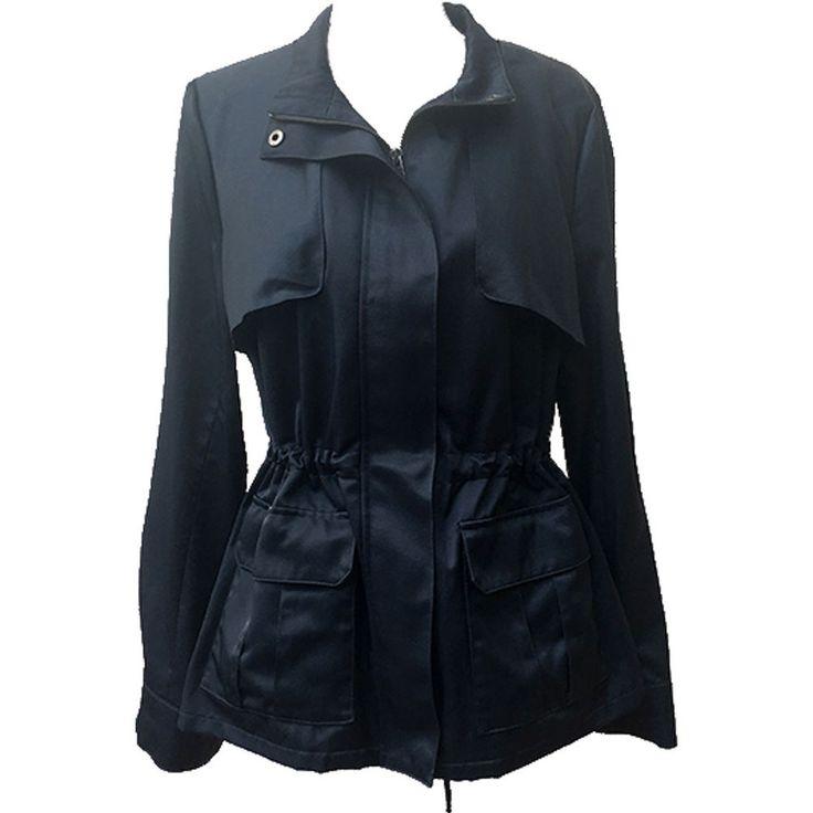 Simply Vera Wang Women's Gray Long-Sleeve Zip-Up Anorak Utility Jacket Sz L #SimplyVerabyVeraWang #AnorakUtilityJacketToggleDrawstringAtWaist #OutdoorCasual