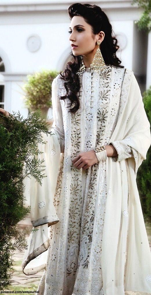 White chikan kamdani georgette Choga - Kotwara by Meera and Muzaffar Ali