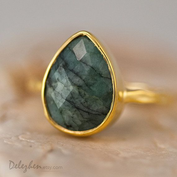 Raw Emerald Ring  Gemstone Ring  Gold Ring  Bezel Ring by delezhen, $66.00