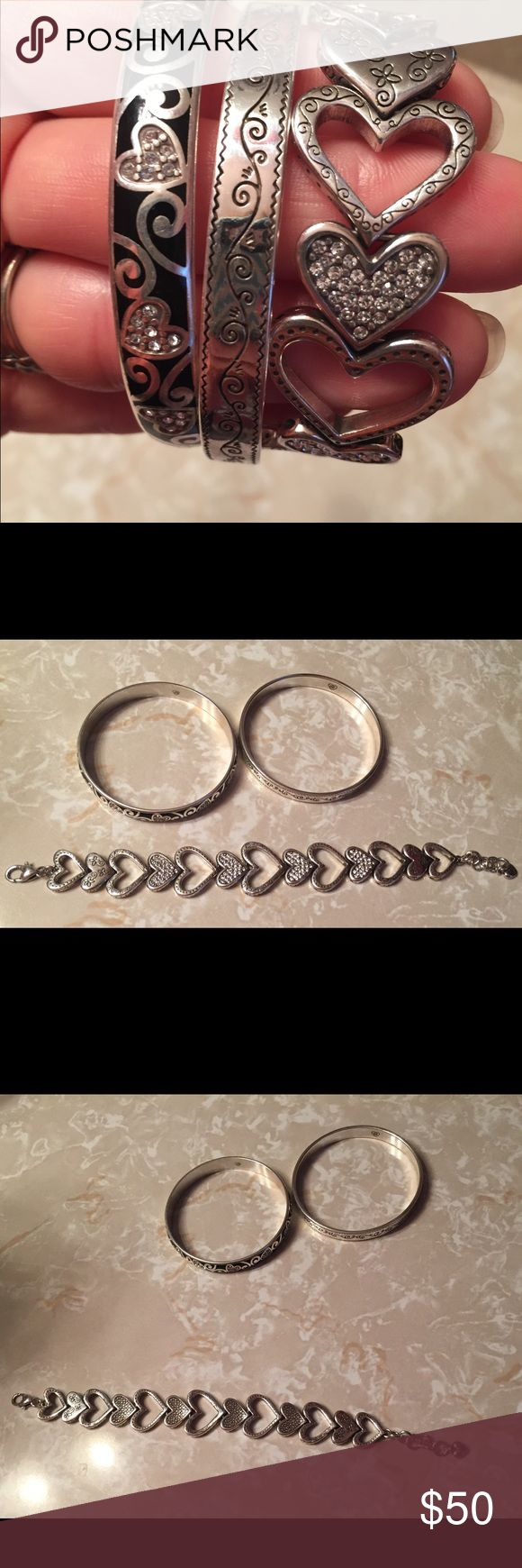 Brighton Bracelets Three Brighton Bracelets. Authentic. Silver, some stones, bangles have black design. Heart bracelet has different print on each side. These are gorgeous and would make a great gift! Were very expensive! Look great stacked together! Thank you kindly! 😊 Brighton Jewelry Bracelets
