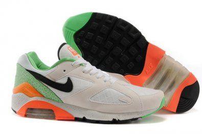 Nike Air Max 180 zapatillas de negro / blanco / naranja http://www.esnikerun.com/