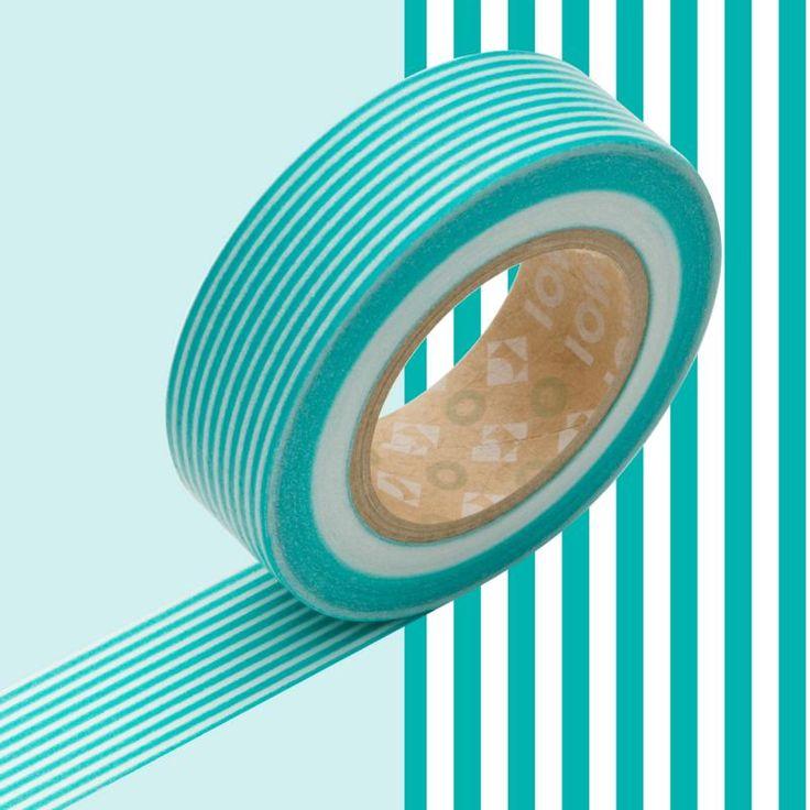 Masking tape rayé bleu turquoise x 10 m