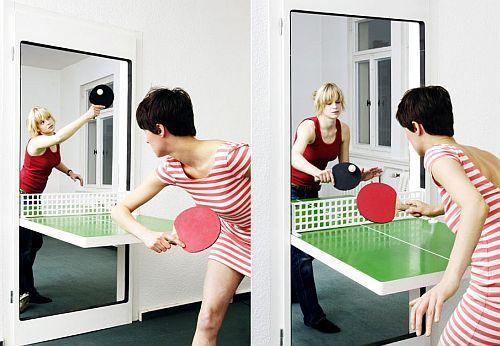 Porta com mesa de ping pong