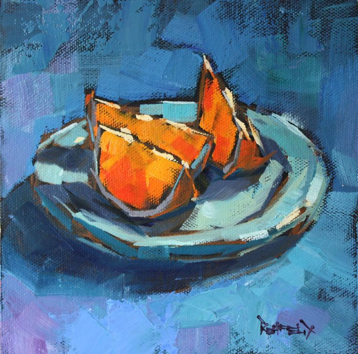 Cathleen Rehfeld • Daily Painting - Blues and Oranges