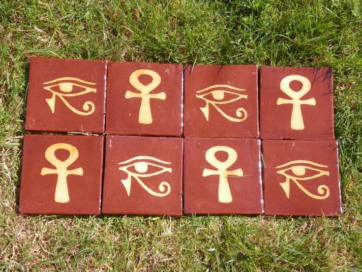 Ancient Egyptian Ankh and Eye of Horus - inlaid  tiles by Tanglebank Tiles