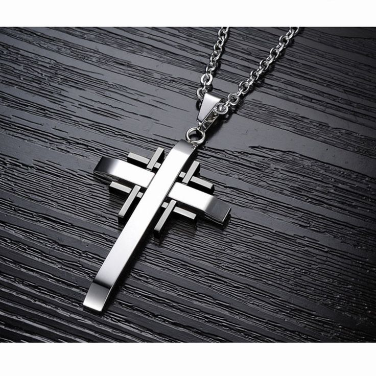 Cross Pendant Necklaces - 19.6'' Men's Stainless Steel Silver Black. men, jewelry, fashion, holiday, collection, style. wearethebikerstore.com, Skull, Bikers, Hollow, Motorcyle, Fashion, Jewelry, Fun, Women, Men, Decor, Skull, Gothic.