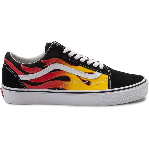 Vans Old Skool Flames Skate Shoe ($99) ❤ liked on Polyvore featuring shoes, sneakers, leather sneakers, shock absorbing shoes, leather trainers, lace up sneakers and leather lace up sneakers
