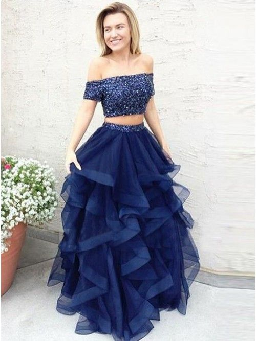 0adacb7c14 Two Piece Off-the-Shoulder Short Sleeves Blue Prom Dress with Beading