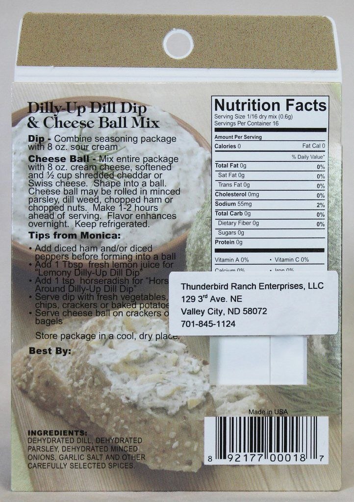 """""""Dally-Up"""" to the fresh taste of dill. Prepare as a veggie dip or cheese ball. Great with fresh cucumbers - the ultimate flavor combination! Net Wt. .33oz (9g)"""