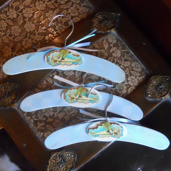 Vintage Style Baby Airplane Clothes Hangers by paulawellsstudio, $9.25