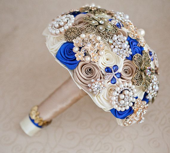 Brooch bouquet. Ivory Champagne and Royal Blue by MagnoliaHandmade
