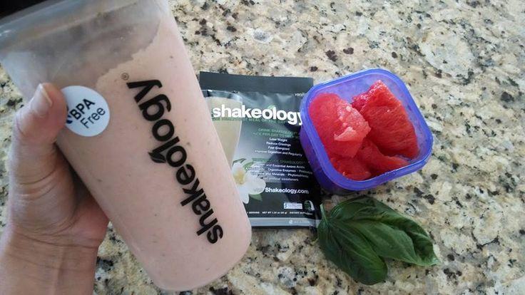 Watermelon Mint Shakeology. Vanilla Shakeology, 1 cup watermelon, basil or mint